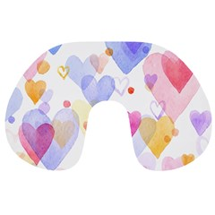 Watercolor Cute Hearts Background Travel Neck Pillows by TastefulDesigns