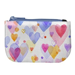 Watercolor Cute Hearts Background Large Coin Purse by TastefulDesigns