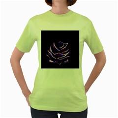 Rose Flower Design Nature Blossom Women s Green T Shirt