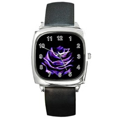 Rose Flower Design Nature Blossom Square Metal Watch by Nexatart