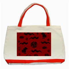 Aztecs Pattern Classic Tote Bag (red)