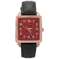 Abstract Background Red Black Rose Gold Leather Watch  by Nexatart