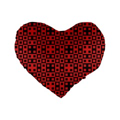 Abstract Background Red Black Standard 16  Premium Flano Heart Shape Cushions by Nexatart