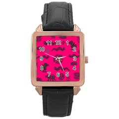 Aztecs Pattern Rose Gold Leather Watch  by ValentinaDesign