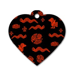 Aztecs Pattern Dog Tag Heart (one Side) by ValentinaDesign