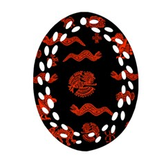 Aztecs Pattern Oval Filigree Ornament (two Sides) by ValentinaDesign