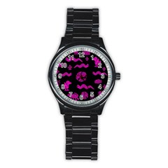 Aztecs Pattern Stainless Steel Round Watch by ValentinaDesign