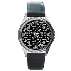 Aztecs Pattern Round Metal Watch by ValentinaDesign