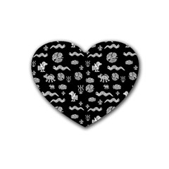 Aztecs Pattern Rubber Coaster (heart)  by ValentinaDesign