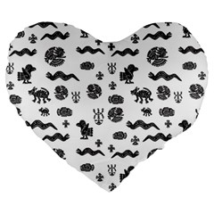 Aztecs Pattern Large 19  Premium Heart Shape Cushions by ValentinaDesign