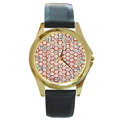 Honeycomb Pattern             Round Gold Metal Watch by LalyLauraFLM