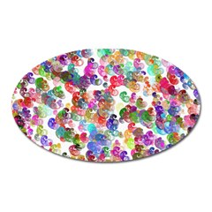 Colorful Spirals On A White Background             Magnet (oval) by LalyLauraFLM