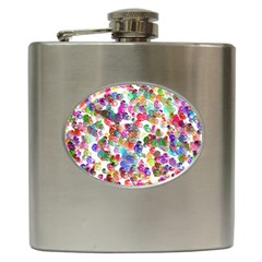 Colorful Spirals On A White Background             Hip Flask (6 Oz) by LalyLauraFLM