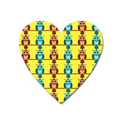 Owls Pattern            Magnet (heart) by LalyLauraFLM