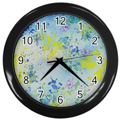 Watercolors Splashes              Wall Clock (black) by LalyLauraFLM