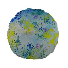 Watercolors Splashes        Standard 15  Premium Flano Round Cushion by LalyLauraFLM