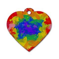 Colorful paint texture           Dog Tag Heart (One Side) by LalyLauraFLM