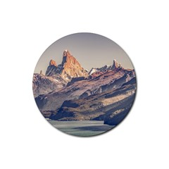 Fitz Roy And Poincenot Mountains Lake View   Patagonia Rubber Coaster (round)  by dflcprints