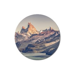 Fitz Roy And Poincenot Mountains Lake View   Patagonia Magnet 3  (round) by dflcprints