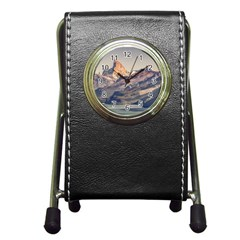 Fitz Roy And Poincenot Mountains Lake View   Patagonia Pen Holder Desk Clocks by dflcprints