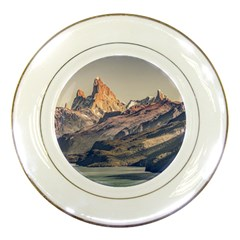 Fitz Roy And Poincenot Mountains Lake View   Patagonia Porcelain Plates by dflcprints