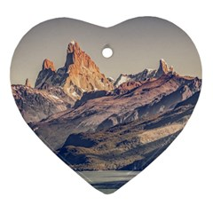 Fitz Roy And Poincenot Mountains Lake View   Patagonia Heart Ornament (two Sides) by dflcprints