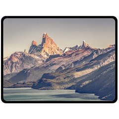 Fitz Roy And Poincenot Mountains Lake View   Patagonia Fleece Blanket (large)  by dflcprints