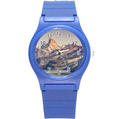 Fitz Roy And Poincenot Mountains Lake View   Patagonia Round Plastic Sport Watch (s) by dflcprints