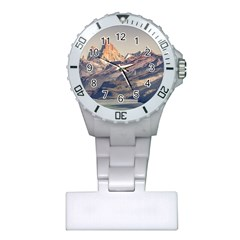 Fitz Roy And Poincenot Mountains Lake View   Patagonia Plastic Nurses Watch by dflcprints