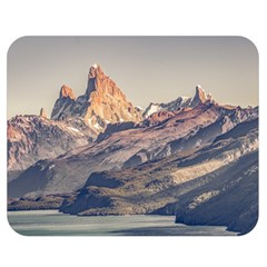 Fitz Roy And Poincenot Mountains Lake View   Patagonia Double Sided Flano Blanket (medium)  by dflcprints