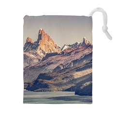 Fitz Roy And Poincenot Mountains Lake View   Patagonia Drawstring Pouches (extra Large) by dflcprints
