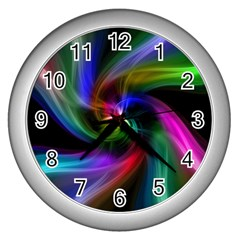 Abstract Art Color Design Lines Wall Clocks (silver)  by Nexatart