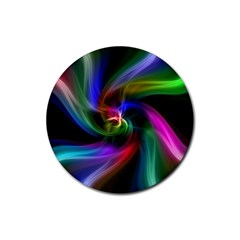Abstract Art Color Design Lines Rubber Round Coaster (4 Pack)