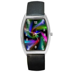 Abstract Art Color Design Lines Barrel Style Metal Watch