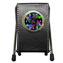 Abstract Art Color Design Lines Pen Holder Desk Clocks by Nexatart