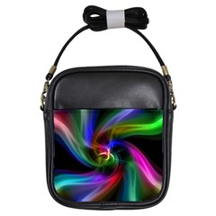 Abstract Art Color Design Lines Girls Sling Bags by Nexatart