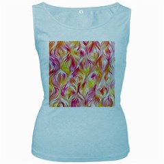 Pretty Painted Pattern Pastel Women s Baby Blue Tank Top