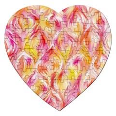 Pretty Painted Pattern Pastel Jigsaw Puzzle (heart) by Nexatart