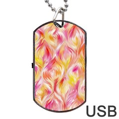 Pretty Painted Pattern Pastel Dog Tag Usb Flash (one Side) by Nexatart