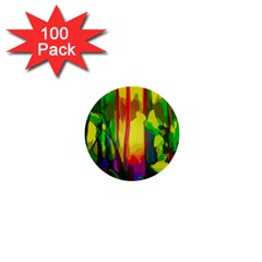 Abstract Vibrant Colour Botany 1  Mini Buttons (100 Pack)