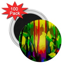 Abstract Vibrant Colour Botany 2 25  Magnets (100 Pack)  by Nexatart