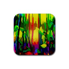 Abstract Vibrant Colour Botany Rubber Square Coaster (4 Pack)  by Nexatart