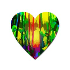 Abstract Vibrant Colour Botany Heart Magnet by Nexatart