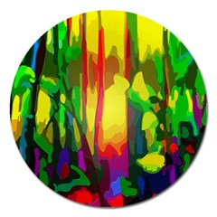 Abstract Vibrant Colour Botany Magnet 5  (round) by Nexatart