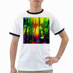 Abstract Vibrant Colour Botany Ringer T Shirts