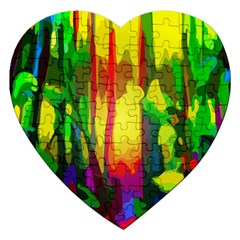 Abstract Vibrant Colour Botany Jigsaw Puzzle (heart) by Nexatart