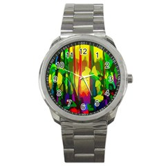 Abstract Vibrant Colour Botany Sport Metal Watch