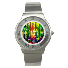 Abstract Vibrant Colour Botany Stainless Steel Watch