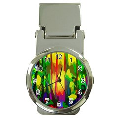 Abstract Vibrant Colour Botany Money Clip Watches by Nexatart