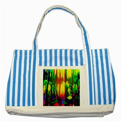 Abstract Vibrant Colour Botany Striped Blue Tote Bag by Nexatart